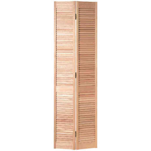 Jeld Wen 36 In. W. x 80 In. H. Pine Louver/Louver Natural Color Bifold Door