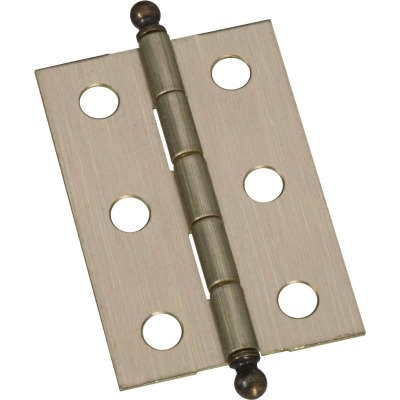National 1-3/8 In. x 2 In. Antique Brass Ball Tip Hinge (2-Pack)