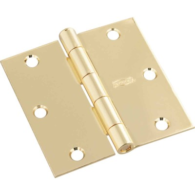 National 3-1/2 In. Square Polished Brass Door Hinge