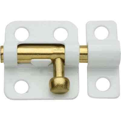 National 2 In. White Cellar Window Barrel Bolt