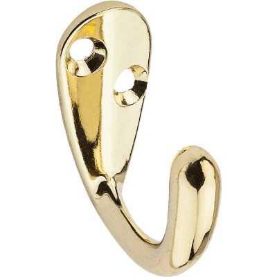 National Brass Single Cloth Wardrobe Hook, 2 per Card