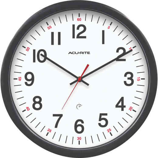 """Acu-Rite 14-1/2"""" Set & Forget Timex Office Wall Clock"""