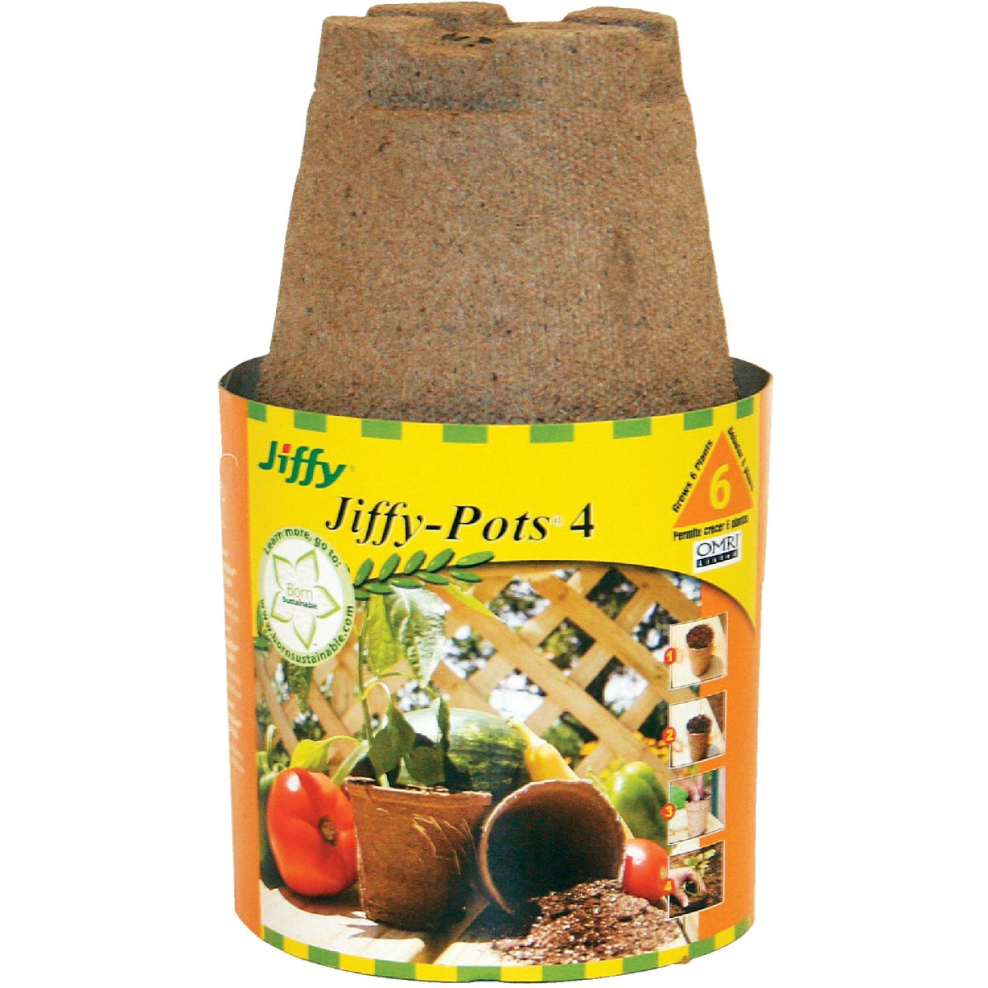 Jiffy 4 In. W. Round Peat Pot (6-Pack) Image 1